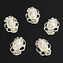 cheap Rhinestone & Decorations-10pcs vintage design oval pearl beads 3d rhinestones alloy nail art decoration