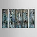 billige Blomster-/botaniske malerier-Håndmalte Abstrakt Horisontell panoramautsikt Lerret Hang malte oljemaleri Hjem Dekor Fem Paneler