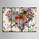 cheap Stretched Canvas Prints-Canvas Set Abstract Floral/Botanical Classic Modern, Four Panels Vertical Print Wall Decor Home Decoration