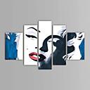 Χαμηλού Κόστους Ελαιογραφίες-Hang-ζωγραφισμένα ελαιογραφία Ζωγραφισμένα στο χέρι - Άνθρωποι Κλασσικό Περιλαμβάνει εσωτερικό πλαίσιο / Πεντάπτυχα / Επενδυμένο καμβά