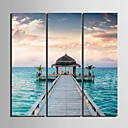 cheap Stretched Canvas Prints-Stretched Canvas Art Maritime Boardwalk  Set of 3