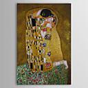 preiswerte Wand-Sticker-Hang-Ölgemälde Handgemalte - Berühmte Menschen Abstrakte Porträt Klassisch Fügen Innenrahmen / Gustav Klimt / Segeltuch / Gestreckte Leinwand