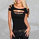女性 クラブ ドレス,ソリッド Uネック 半袖 ブルー / レッド / ブラック / グレイ ポリエステル 夏 マイクロエラスティック 薄手