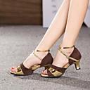 ieftine Ornamente de Nuntă-Pentru femei Pantofi Dans Latin Piele / Piele de Căprioară Sandale Cataramă Toc Cubanez NePersonalizabili Pantofi de dans Argintiu / Maro / Auriu