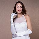 preiswerte Handschuhe für die Party-Baumwolle / Satin Handgelenk-Länge / Ellenbogen Länge Handschuh Charme / Stilvoll / Brauthandschuhe Mit Stickerei / Einfarbig