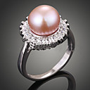 cheap Rings-Women's Statement Ring - Pearl, Imitation Pearl, Zircon Luxury, Fashion One Size Cream / Dark Pink For Party / Cubic Zirconia / Pink Pearl / Cubic Zirconia / Alloy