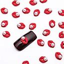 preiswerte Nagel Strass & Dekorationen-10pcs weiße Nagelkunstperlenschmuck glitzernden Metallic-Rot Schmuck für DIY Nagel-Design