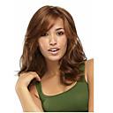 hesapli Sentetik Kapsız Peruklar-Sentetik Peruklar Dalgalı Bantlı Sentetik Saç 15 inç Kahverengi Peruk Kadın's Bonesiz Kahverengi