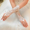 cheap Party Gloves-Tulle Elbow Length Glove Bridal Gloves With Rhinestone