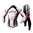 cheap Cycling Underwear & Base Layer-FJQXZ Men's Long Sleeve Cycling Jersey with Tights - White Bike Clothing Suit Breathable 3D Pad Quick Dry Ultraviolet Resistant Back Pocket Winter Sports Polyester Mesh Curve Mountain Bike MTB Road