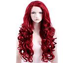 abordables Pelucas para Disfraz-Pelucas sintéticas Parte lateral Rojo Peluca Mujer Larga