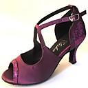 baratos Sapatos de Dança Latina-Mulheres Sapatos de Dança Latina Cetim Sandália Salto Personalizado Personalizável Sapatos de Dança Dourado / Púrpura