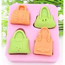 preiswerte Backformen-vier Löcher Handtasche geformt Fondantkuchen Schokoladensilikonform Kuchendekorationswerkzeuge, l8.5cm * w7.5cm * h1.6cm