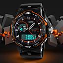 billige Herre Smykker-Herre Sportsur Digital Watch Digital Alarm Kalender Kronograf Silikone Bånd Analog-digital Vedhæng Afslappet Sort - Sort Orange Blå To år Batteri Levetid / LCD / Dobbelte Tidszoner