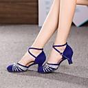 cheap Modern Shoes-Women's Modern Shoes / Ballroom Shoes Suede Heel Sequin Cuban Heel Non Customizable Dance Shoes Silver / Gold
