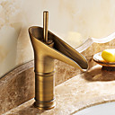 cheap Shower Faucets-Traditional Centerset Ceramic Valve One Hole Single Handle One Hole Antique Brass, Bathroom Sink Faucet