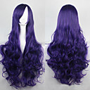 cheap Hair Accessories-Synthetic Wig Curly / Loose Wave / Natural Wave Asymmetrical Haircut Synthetic Hair 25 inch Natural Hairline Purple Wig Women's Long Capless Dark Blue