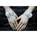 cheap Party Headpieces-Cotton Wrist Length Glove Charm / Stylish / Bridal Gloves With Rhinestone / Bowknot / Embroidery