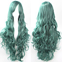cheap Hair Accessories-Synthetic Wig Curly / Loose Wave / Natural Wave Asymmetrical Haircut Synthetic Hair 25 inch Natural Hairline Green Wig Women's Long Capless Green
