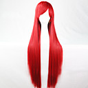 abordables Perruques Synthétiques Sans Bonnet-Perruque Synthétique Droit Style Coupe Asymétrique Sans bonnet Perruque Rouge Rouge Cheveux Synthétiques 28 pouce Femme Ligne de Cheveux Naturelle Rouge Perruque Long Perruque de Cosplay