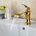 preiswerte Badarmaturen-Waschbecken Wasserhahn - Wasserfall Ti-PVD Mittellage Einhand Ein Loch