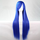 cheap Movie & TV Theme Costumes-Synthetic Wig Straight Asymmetrical Haircut Synthetic Hair 28 inch Natural Hairline Blue Wig Women's Long Capless Light Blue