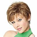 זול פיאות סינטטיות ללא כיסוי-פאות סינתטיות בגדי ריקוד נשים ישר / מתולתל בלונד תספורת אסימטרית שיער סינטטי 4 אִינְטשׁ שיער טבעי בלונד פאה קצר ללא מכסה חום בהיר