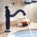 abordables Juegos de Accesorios de Baño-Baño grifo del fregadero - Rotativo Bronce Aceitado Conjunto Central 1 Orificio Sola manija Un agujero