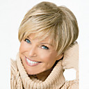 cheap Human Hair Capless Wigs-Synthetic Wig Wavy Blonde Pixie Cut / With Bangs Synthetic Hair Side Part / With Bangs Blonde Wig Women's Short Capless