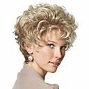 tanie Syntetyczne peruki bez czepka-Peruki syntetyczne Curly / Kinky Curl Blond Z grzywką Włosie synetyczne 8 in Z grzywką Blond Peruka Damskie Krótkie Jasny blond