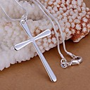 cheap Necklaces-Women's Pendant Necklace - Sterling Silver Cross Basic, Simple Style Necklace Jewelry 1pc For Wedding, Party, Gift