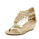baratos Sandálias Femininas-Mulheres Sapatos Courino Verão Plataforma / Salto Plataforma Cristais Prateado / Dourado / Calcanhares