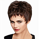 cheap Synthetic Capless Wigs-Synthetic Wig Women's Straight / Natural Wave Brown Asymmetrical Synthetic Hair Natural Hairline Brown Wig Short Capless Black