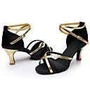 baratos Sapatos de Dança Latina-Mulheres Sapatos de Dança Latina / Tênis de Dança Cetim Salto Cadarço Salto Cubano Personalizável Sapatos de Dança Vermelho / Marrom /
