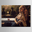 cheap People Paintings-Oil Painting Hand Painted - People European Style Modern Canvas