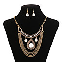 cheap Makeup Brush Sets-Women's Crystal Tassel Jewelry Set / Statement Necklace - Cubic Zirconia, Gold Plated Tassel Gold Necklace For Party