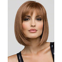 cheap Human Hair Wigs-Human Hair Capless Wigs Human Hair Straight Bob With Bangs Short Capless Wig Women's