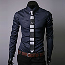 cheap Men's Bracelets-Men's Work Street chic Plus Size Cotton Slim Shirt - Plaid Print Button Down Collar / Long Sleeve