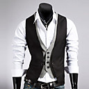 cheap Under $500-Men's Work Vest, Solid Colored Sleeveless Cotton / Polyester Black / Brown L / XL / XXL / Business Formal / Slim
