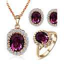 cheap Jewelry Sets-Women's Crystal Jewelry Set - Crystal, Cubic Zirconia, Imitation Diamond Dainty Include Purple For Wedding / Party / Daily / Rings / Earrings / Necklace
