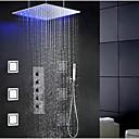 billige Syntetiske blondeparykker-Moderne Bruse System Regnbruser Udbredt Håndbruser inkluderet LED Keramik Ventil Enkelt håndtag fire huller Krom, Brusehaner