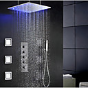 abordables Pelucas Sintéticas con Agarre-Moderno Modern Sistema ducha Ducha lluvia Separado Alcachofa incluida LED Válvula Cerámica Sola manija Cuatro Agujeros Cromo, Grifo de