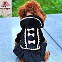 cheap Dog Clothes-Cat Dog Coat Hoodie Dress Dog Clothes Bowknot Black Pink Polar Fleece Cotton Costume For Pets Cosplay Wedding