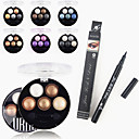 baratos Kits & Paletas para os Olhos-Acessórios para Maquiagem Viagem Amiga-do-Ambiente Profissional 1PCS Professional Waterproof Liquid Eyeliner Pen+1PCS Bright Stereo 5 Color UBUB Roast Eye Shadow Powder Metallic Shimmer(6 Color to