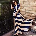 זול בלוקים מגנטיים-כחול ולבן מקסי דפוס, פסים - שמלה סווינג אלגנטית חגים בגדי ריקוד נשים / אביב / קיץ / סתיו