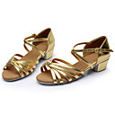 cheap Latin Shoes-Women's Latin Shoes / Ballroom Shoes Leather / Silk Sandal Buckle / Ribbon Tie Chunky Heel Customizable Dance Shoes Silver / Brown / Gold