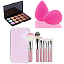 cheap Concealers & Contours-hot sale 15 colors contour face cream makeup concealer palette 7pcs pink box makeup brushes set kit powder puff colors Concealer / Contour Dry Cream Concealer