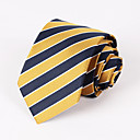 halpa Miesten asusteet-miesten juhla / ilta keltainen ja tummansininen raidallinen kravatti # pt065
