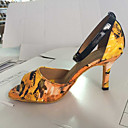 baratos Sapatos de Dança Latina-Mulheres Sapatos de Dança Latina Courino Sandália Presilha Salto Robusto Personalizável Sapatos de Dança Amarelo / Púrpura