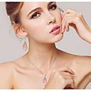 povoljno USB memorije-Kristal Komplet nakita Ogrlice s privjeskom dame Zabava Moda Kubični Zirconia Pozlata od crvenog zlata Naušnice Jewelry Pink Za Vjenčanje Party Special Occasion godišnjica Rođendan Angažman